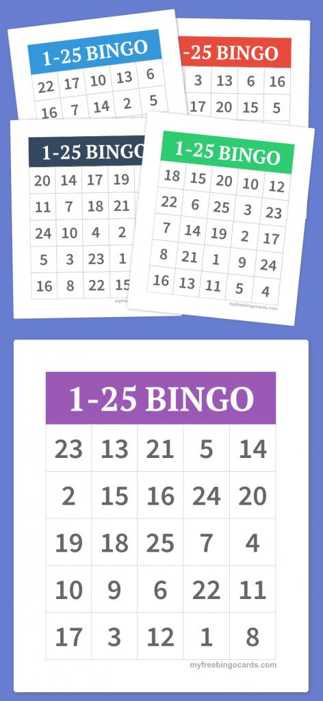 1-25 Bingo | Diy | Free Bingo Cards, Bingo, Free Printable Bingo Cards | Free Printable Number Bingo Cards 1 20