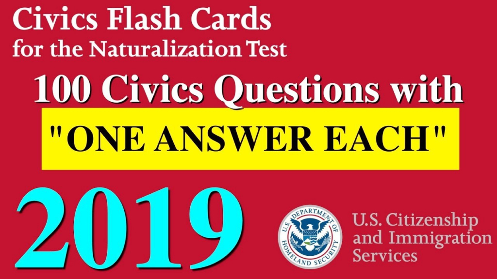 "100 Civics Questions With ""One Answer Each"" For U.s. Citizenship 