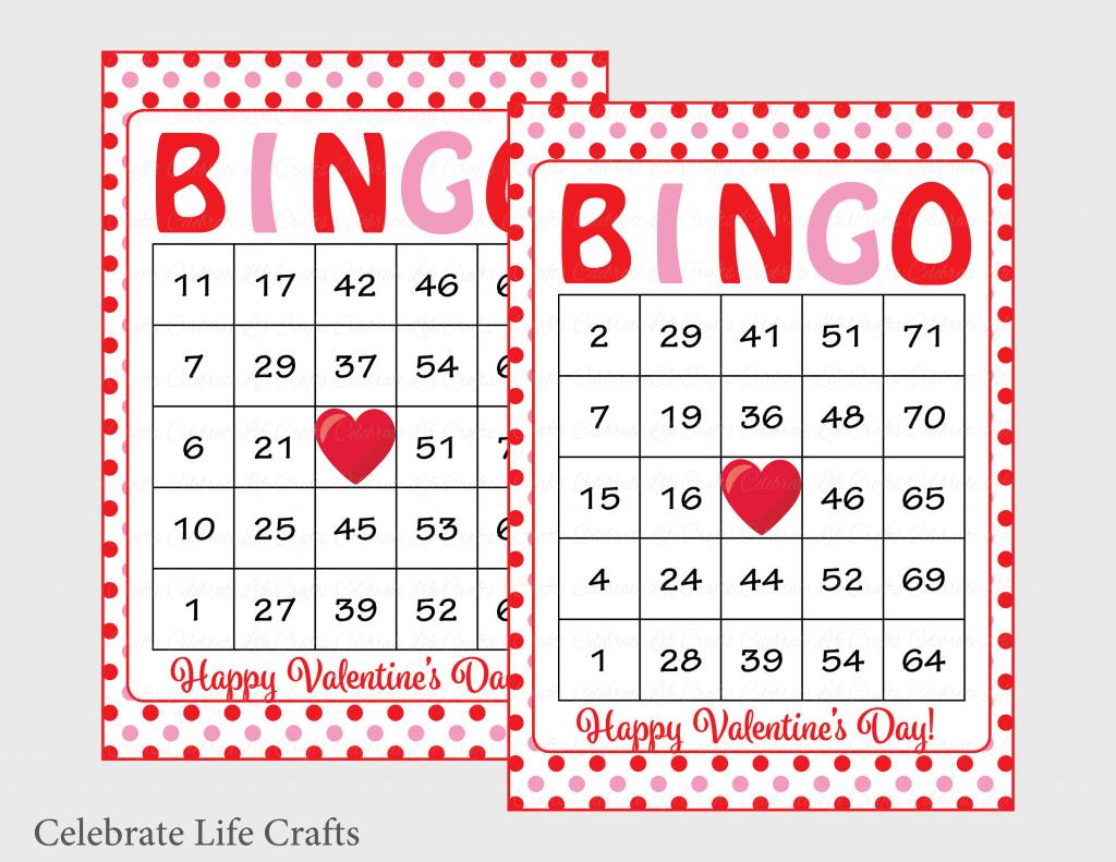 100 Valentines Bingo Cards Printable Valentine Bingo Cards | Etsy | Printable Valentine Bingo Cards With Numbers