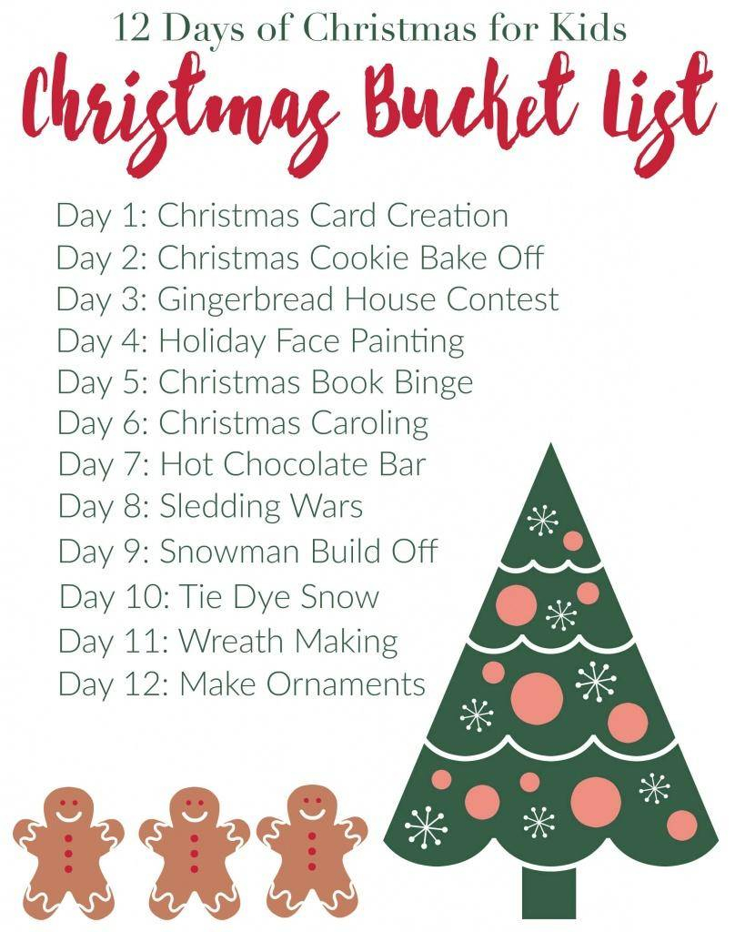 12 Days Of Christmas For Kids |Free Printable Bucketlist | 12 Days Of Christmas Cards Printable