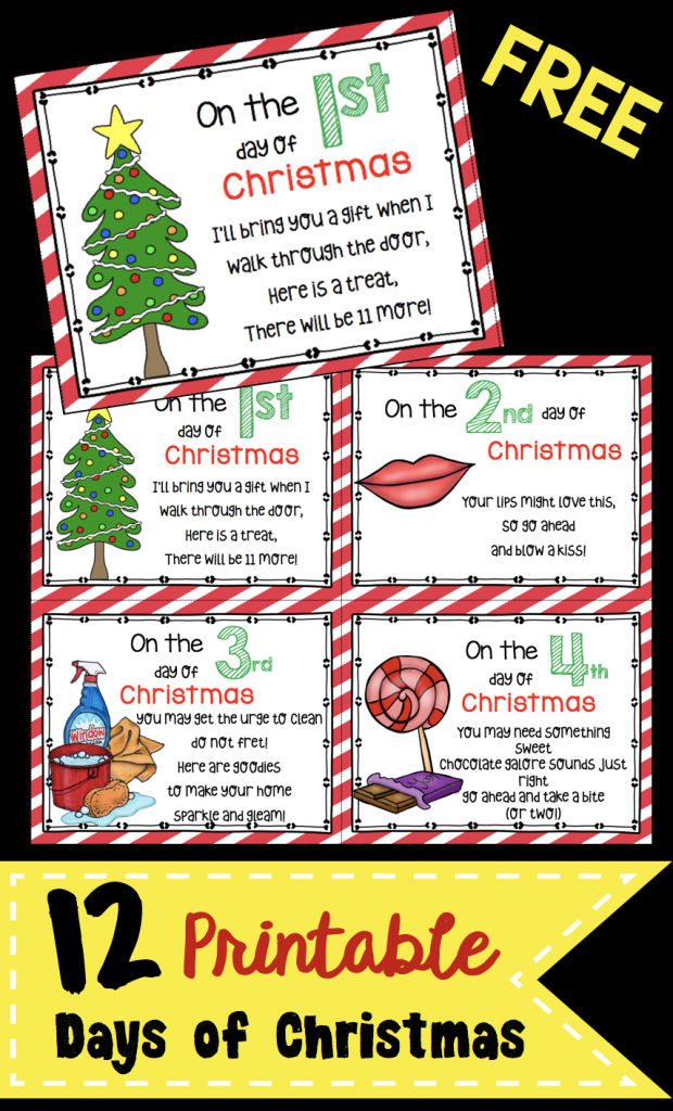 12 Days Of Christmas - Free Cards! | December In Kindergarten | 12 Days Of Christmas Cards Printable