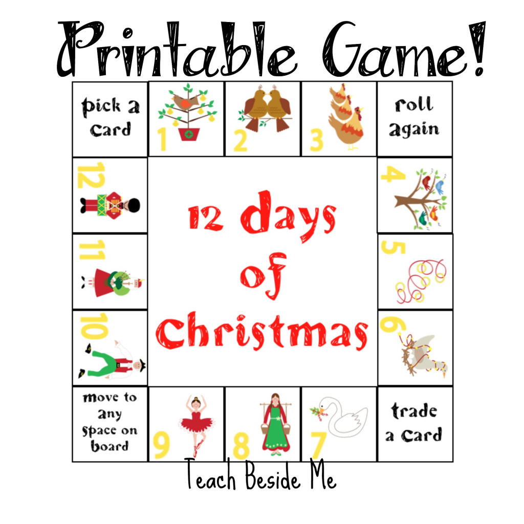 12 Days Of Christmas Printable Game – Teach Beside Me | 12 Days Of Christmas Cards Printable