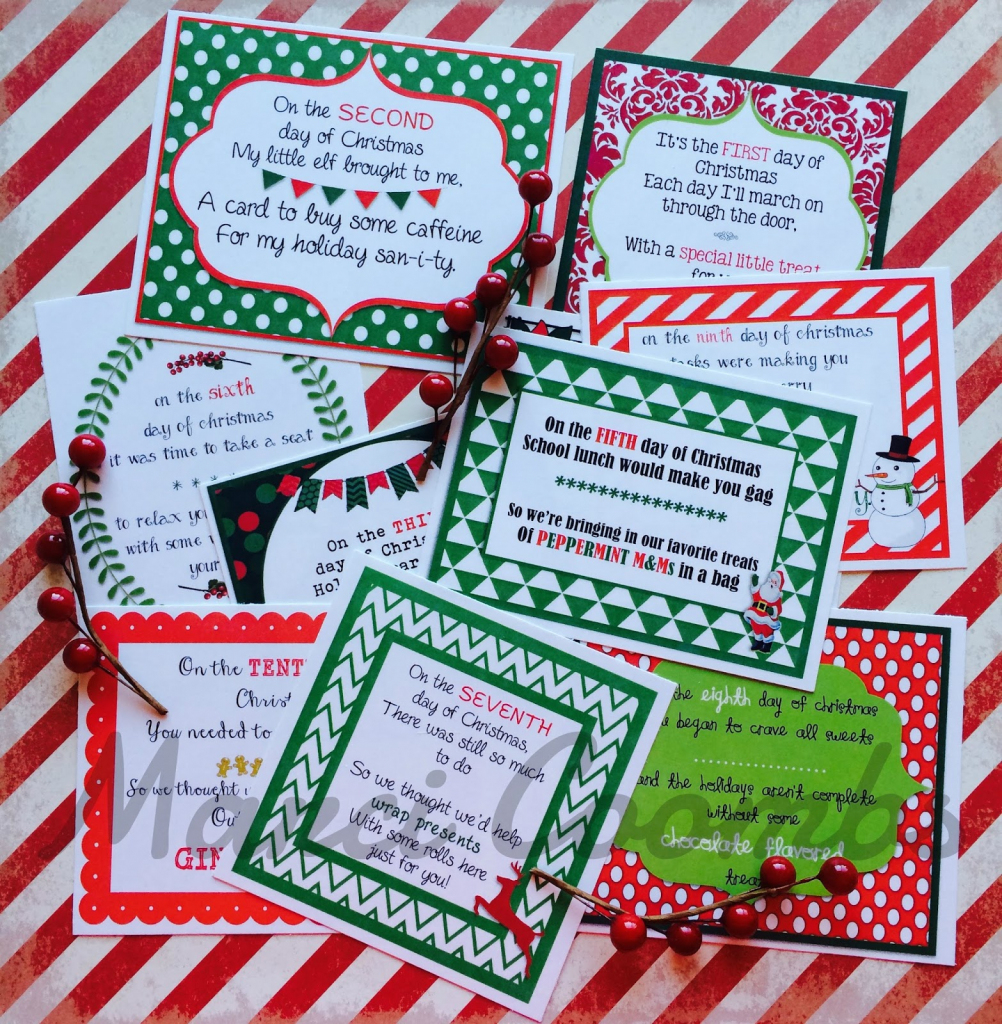 12 Days Of Christmas Printable Tags – Festival Collections | 12 Days Of Christmas Cards Printable
