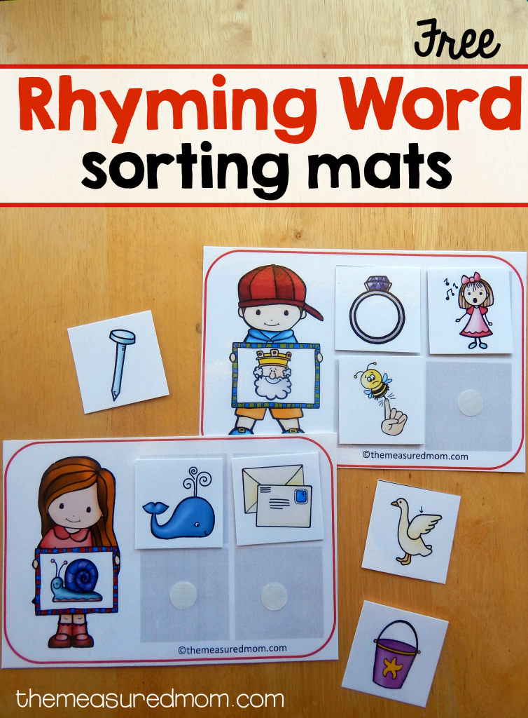 14 Free Sorting Mats For Rhyming Words - The Measured Mom | Rhyming Picture Cards Printable