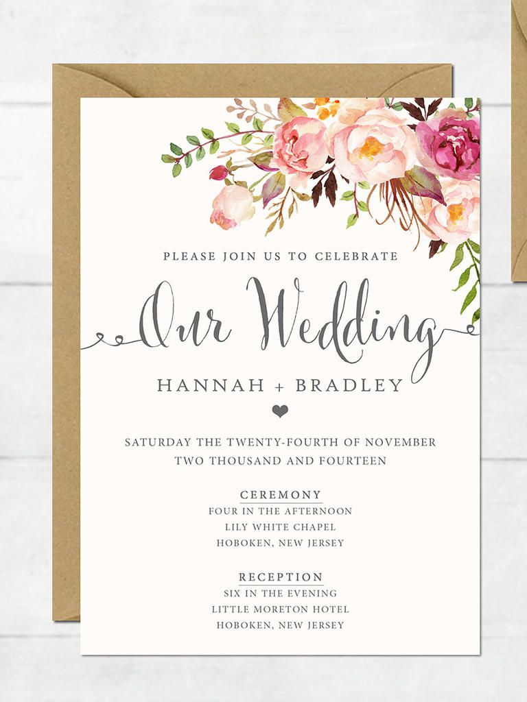 16 Printable Wedding Invitation Templates You Can Diy | Wedding | Free Printable Wedding Menu Card Templates