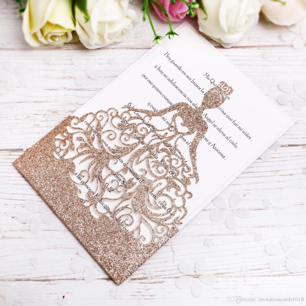 2018 New Gold Glitter Laser Cut Crown Princess Invitations Cards For | Printable Quinceanera Birthday Cards
