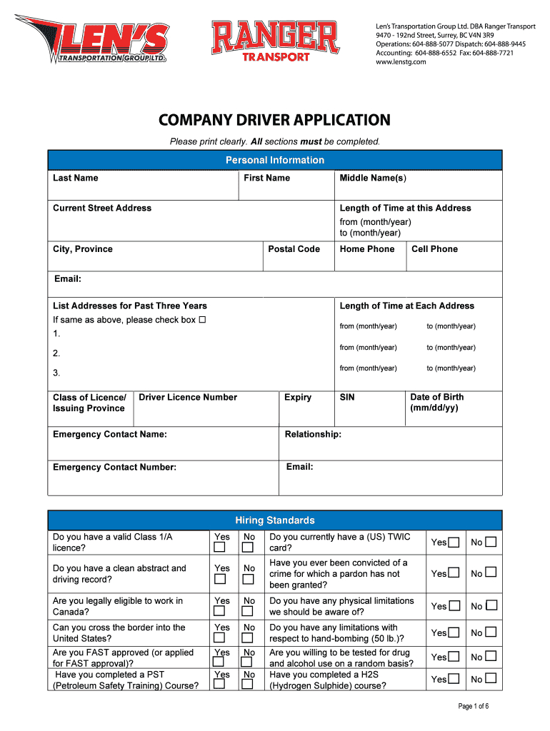 3 Driver Application - Blenstgbbcomb Fill Online, Printable | Printable Twic Card Application
