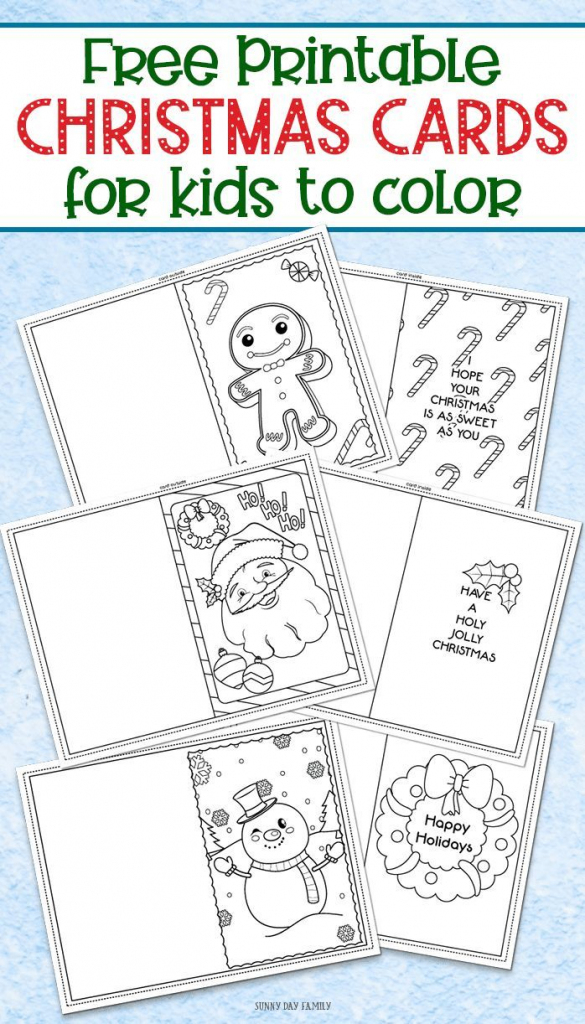 3 Free Printable Christmas Cards For Kids To Color | Kinder-Garten | Christmas Cards For Grandparents Free Printable