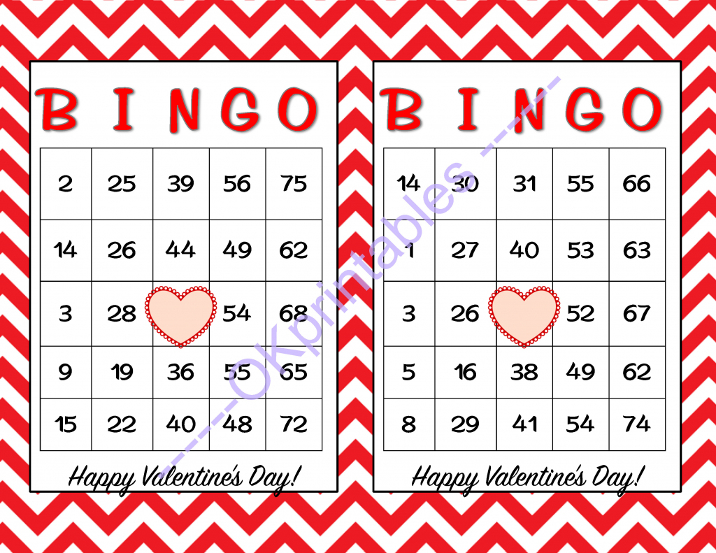 30 Happy Valentines Day Bingo Cards -Okprintables On Zibbet | Printable Bingo Cards 1 75