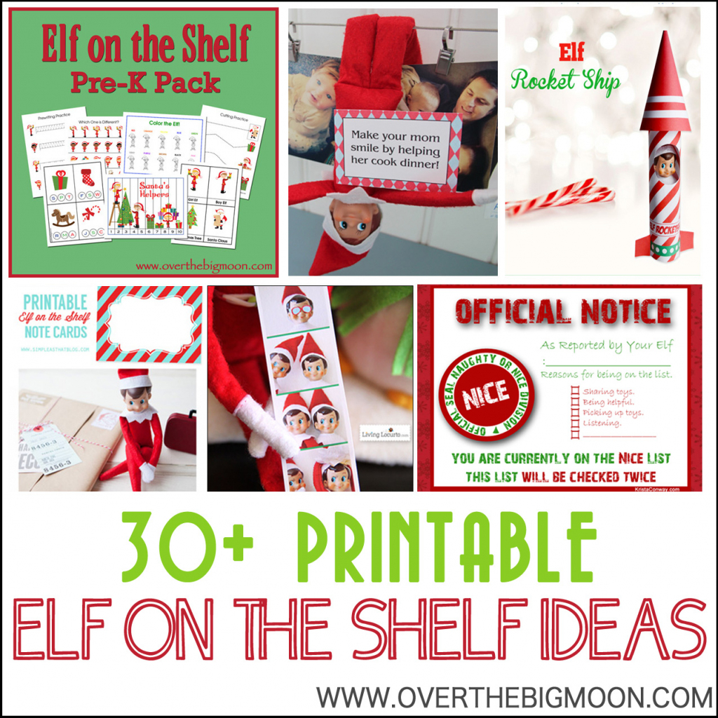 30+ Printable Elf On The Shelf Ideas - Over The Big Moon | Printable Elf On The Shelf Note Cards