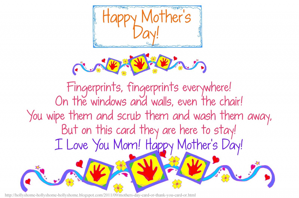 30 Touching Mothers Day Poems From Kids | Mothers Day Poems Cards Printable