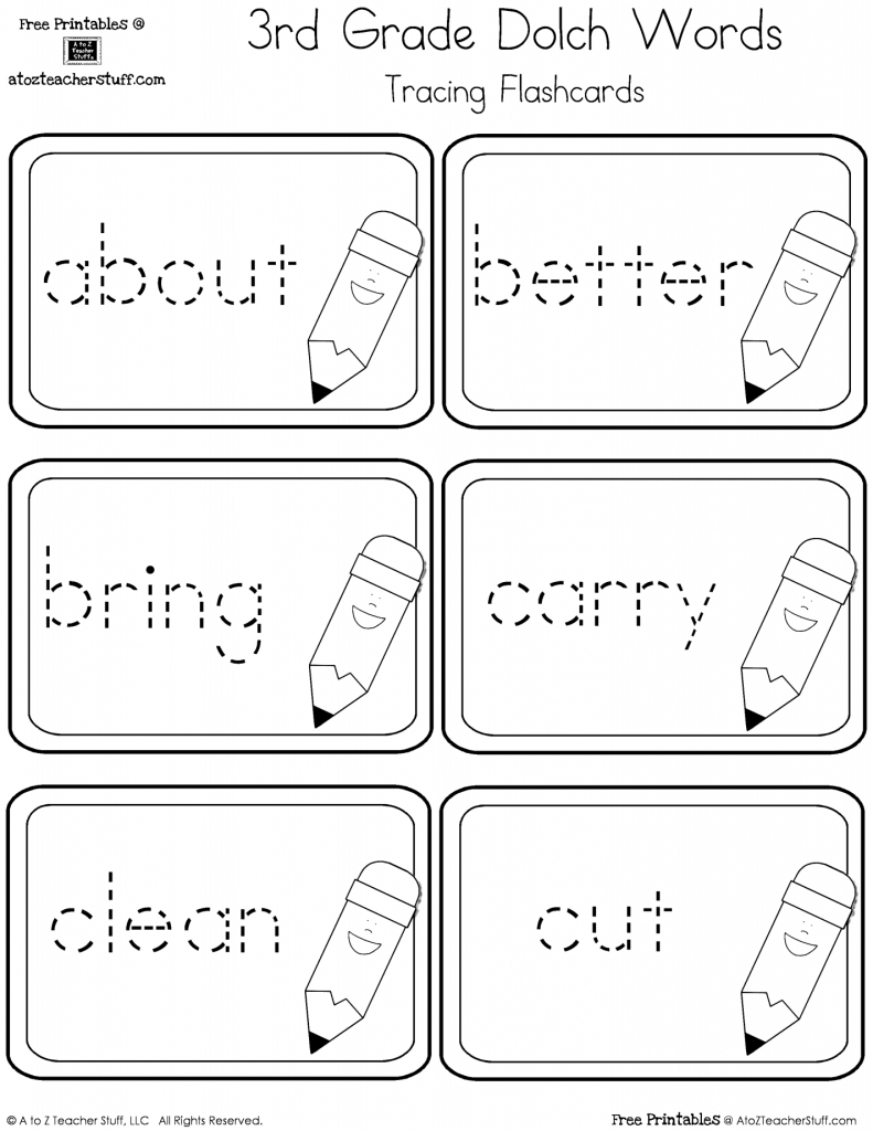3Rd Grade Dolch Words Tracing Cards {Free Printables} | Home Lang | 3Rd Grade Sight Words Flash Cards Printable