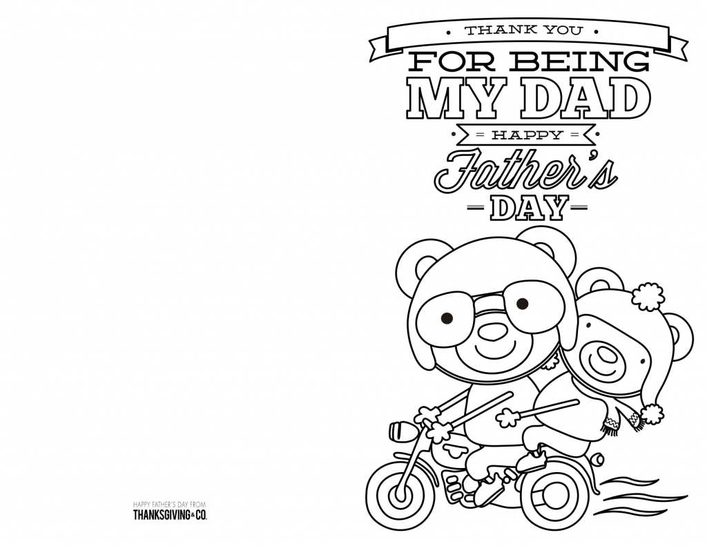 4 Free Printable Father's Day Cards To Color - Thanksgiving | Free Printable Fathers Day Cards For Preschoolers