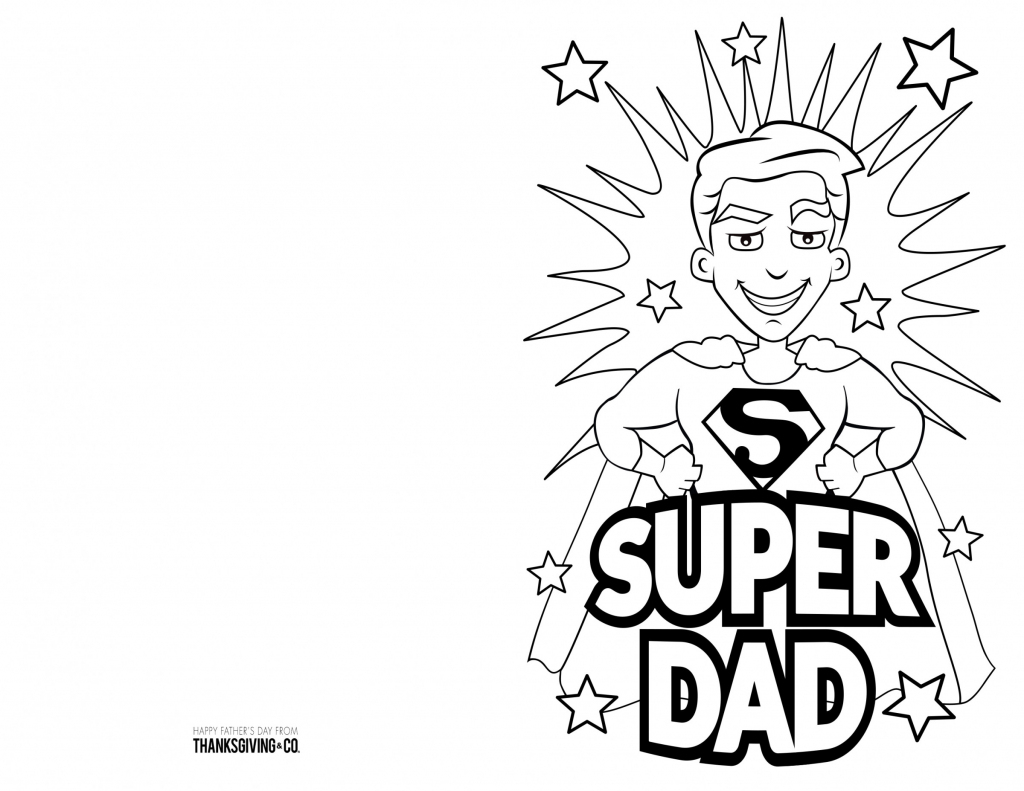 4 Free Printable Father's Day Cards To Color - Thanksgiving | Super Dad Card Printable