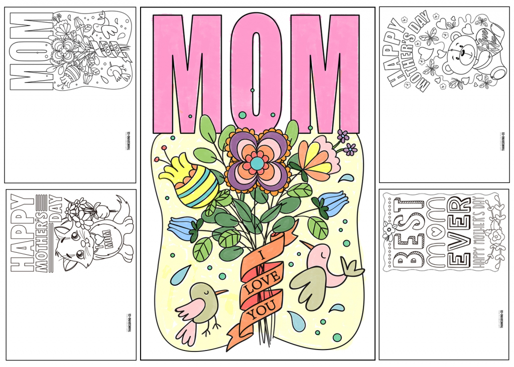 4 Free Printable Mother's Day Ecards To Color - Thanksgiving | Free Printable Cards To Color