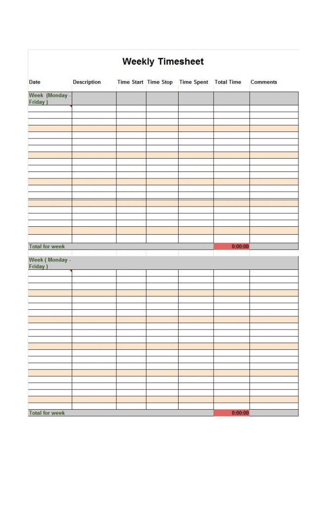 40 Free Timesheet / Time Card Templates ᐅ Template Lab | Employee Time Card Template Printable