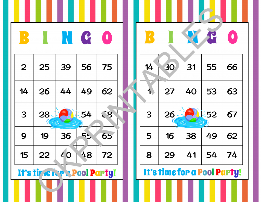 60 It's Time For A Pool Party! Bingo Cards - Printable Pool Party | Printable Number Bingo Cards 1 75