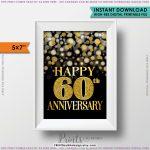 60Th Anniversary Card Black & Gold Glitter 60Th Golden Bokeh | 60Th Anniversary Cards Printable