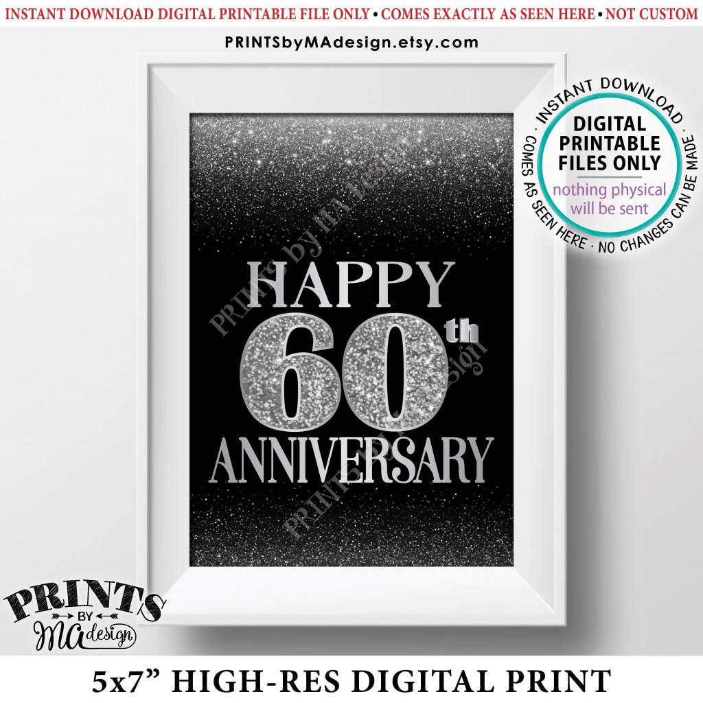 60Th Anniversary Card Black & Silver Glitter 60Th Wedding Anniversary | 60Th Anniversary Cards Printable