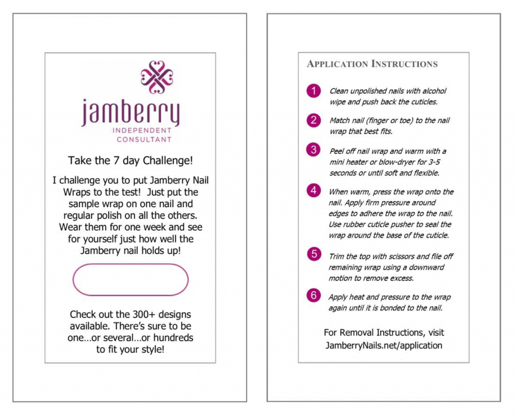 7 Day Challenge Card 50 Pack | Jams | 7 Day Challenge, Jamberry | Jamberry 7 Day Challenge Cards Printable