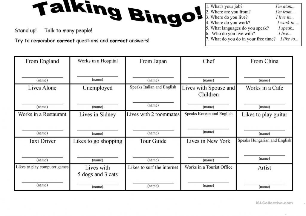 7 Questions Talking Bingo With Role-Play Cards Worksheet - Free Esl | Esl Bingo Cards Printable