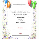 7Th Birthday Invitation Card Printable   Under.bergdorfbib.co | 7Th Birthday Card Printable