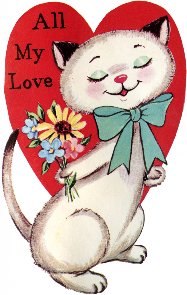 9 Retro Valentines With Animals! - The Graphics Fairy | Printable Vintage Valentines Day Cards