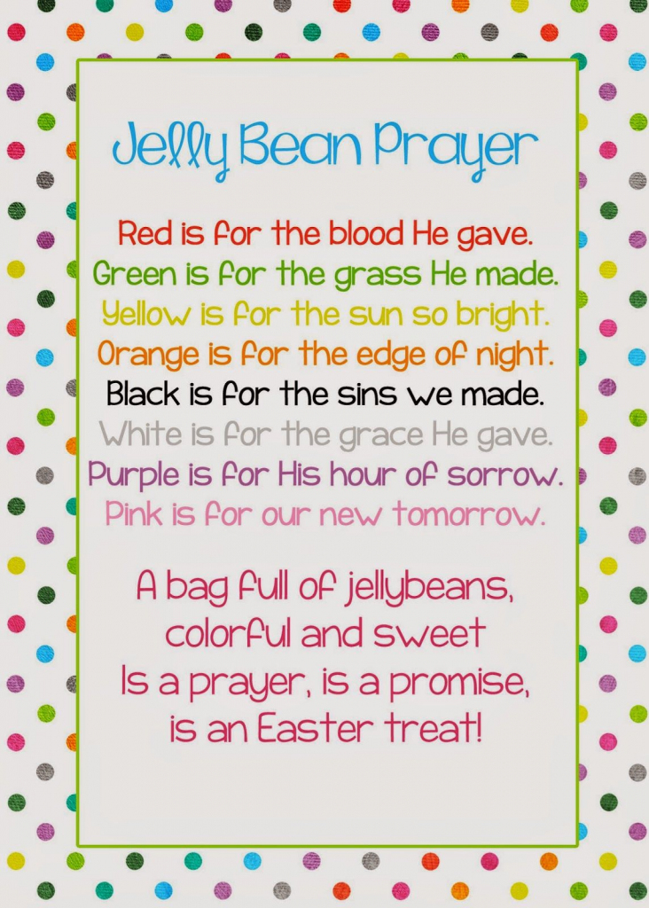 A Pocket Full Of Lds Prints: Jelly Bean Prayer Poem - Easter Freebie | Jelly Bean Prayer Printable Cards