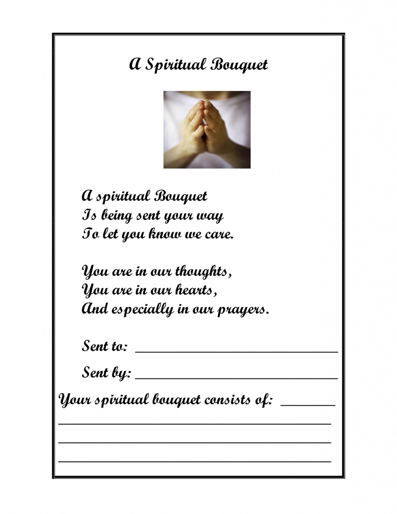 A Spiritual Bouquet | Religous Ed | Catholic Schools Week, Catholic | Printable Spiritual Bouquet Cards