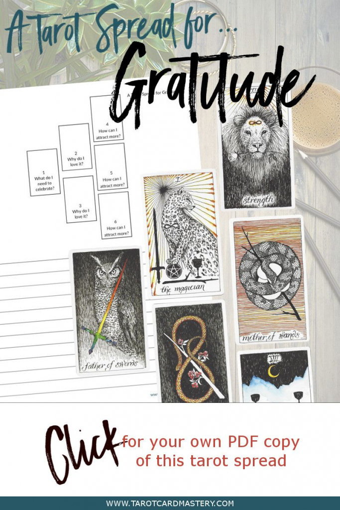 A Tarot Spread For Gratitude | Tarot Card Spreads | Tarot, Tarot | Printable Tarot Cards Pdf Free