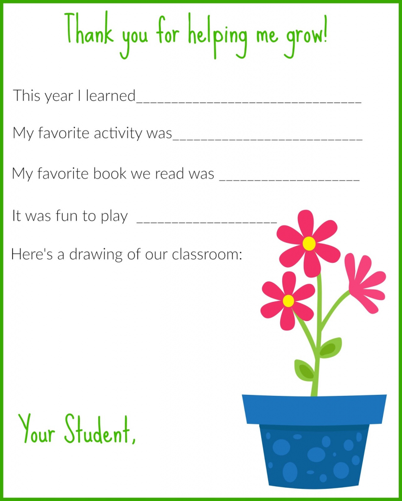 A Thank You Letter For Teachers {Free Printable} - The Chirping Moms | Printable Thank You Cards For Teachers