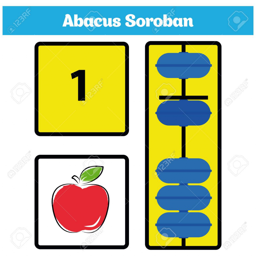 Abacus Soroban Kids With Abacus Vector Illustration. Royalty Free | Printable Abacus Flash Cards