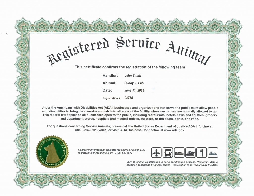 Ada Service Dog Certification - Webmastergenel | Printable Ada Service Dog Card