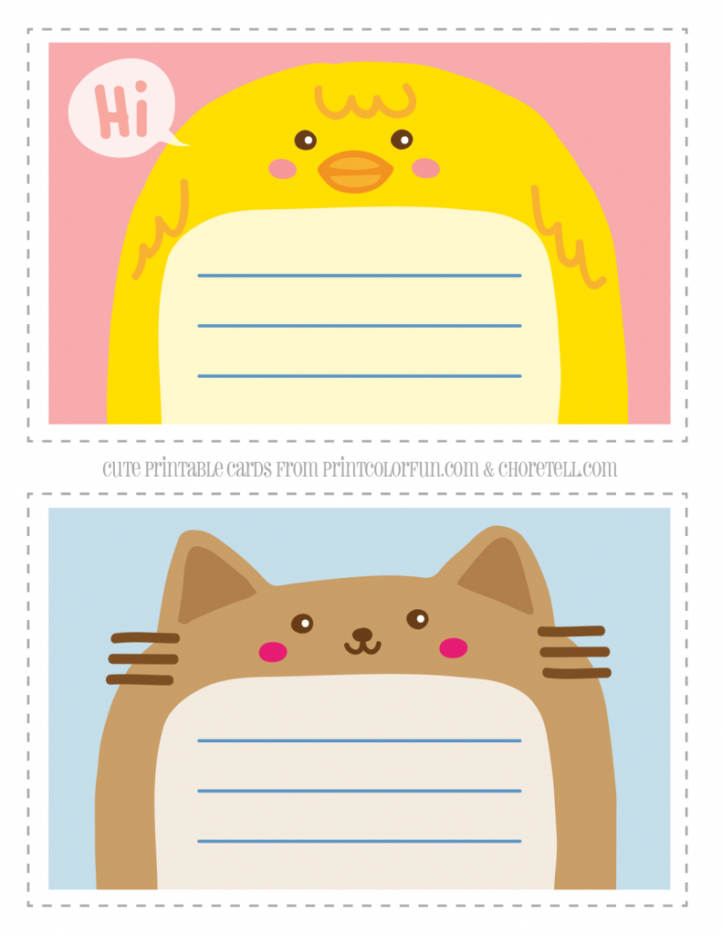 Adorable Animal Thank You Notecards For Kids | Free Printable | Cute Note Cards Printable