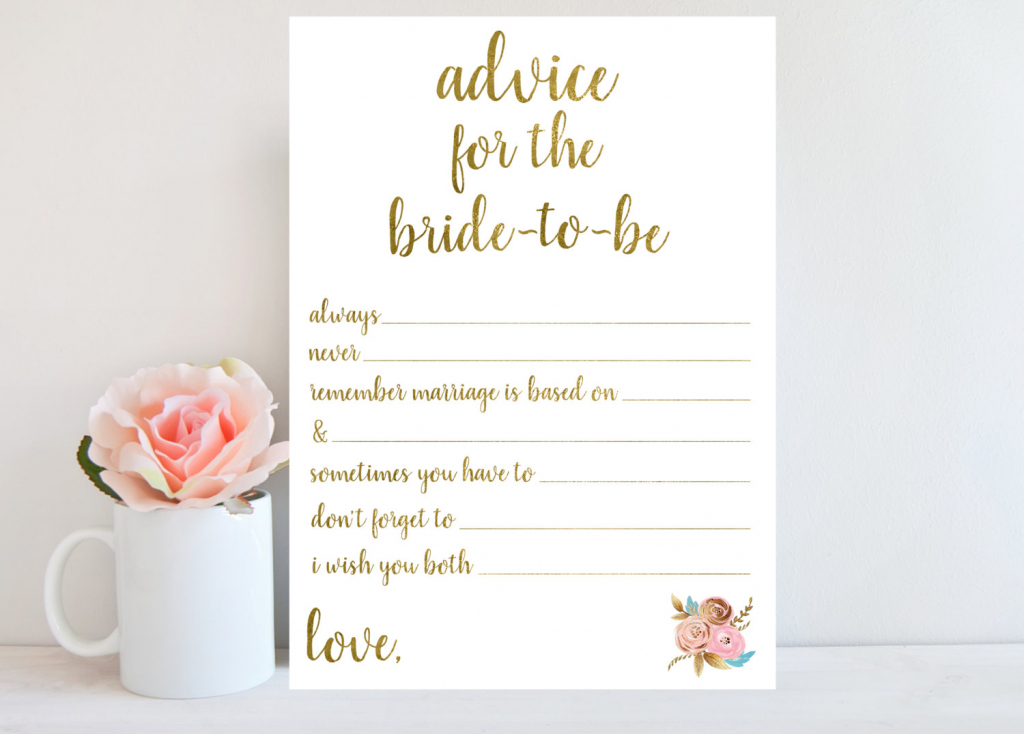 Advice For Bride-To-Be Bridal Shower Advice Cards Printable | Etsy | Free Printable Bridal Shower Advice Cards