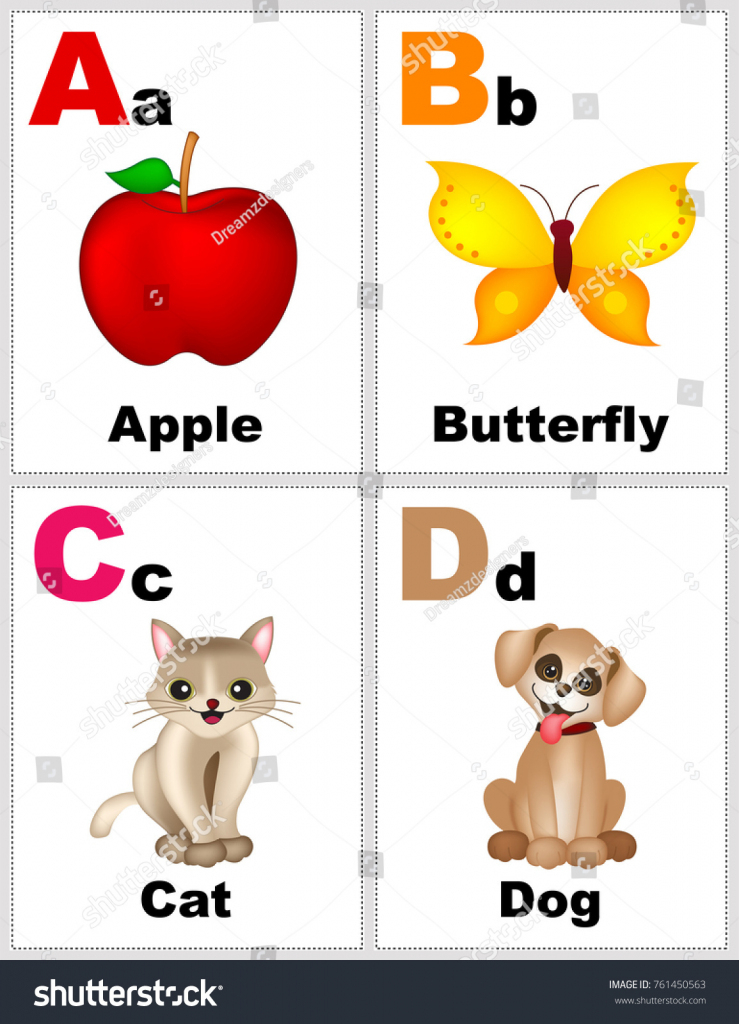 Alphabet Printable Flashcards Collection Letter B Stock Illustration | Ants On The Apple Printable Cards