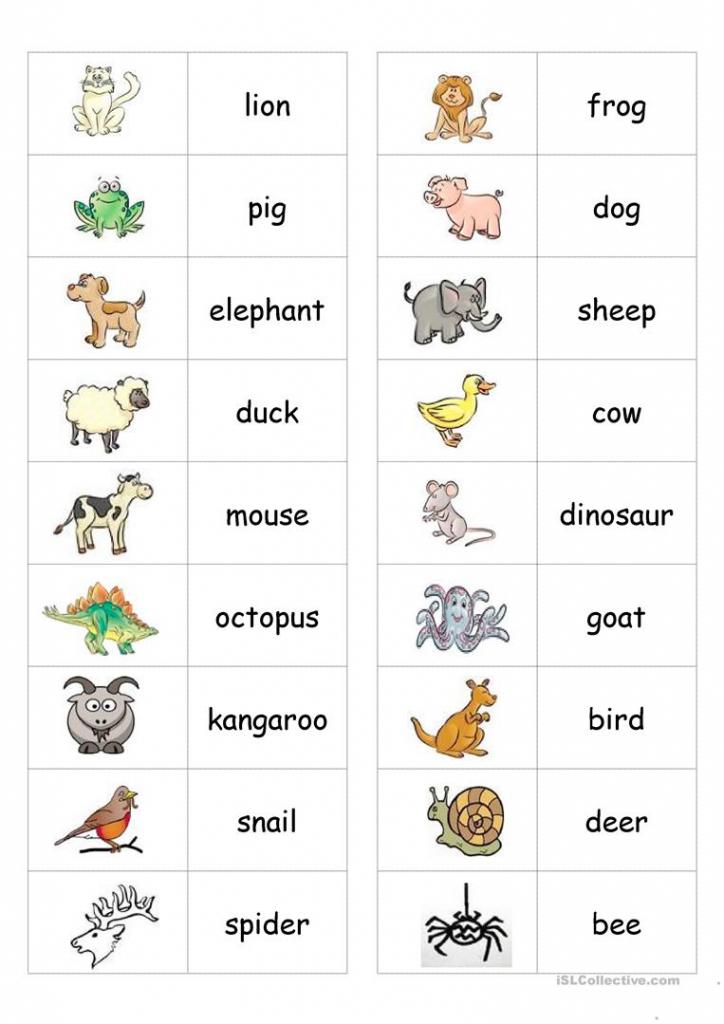 Animal Dominoes Worksheet - Free Esl Printable Worksheets Made | Animal Matching Cards Printable