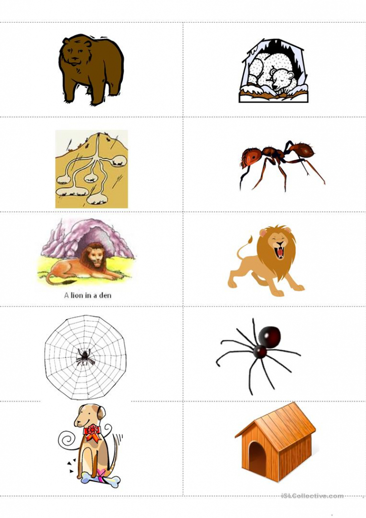 Animals And Their Habitat Memory Flashcards Worksheet - Free Esl | Free Printable Farm Animal Flash Cards