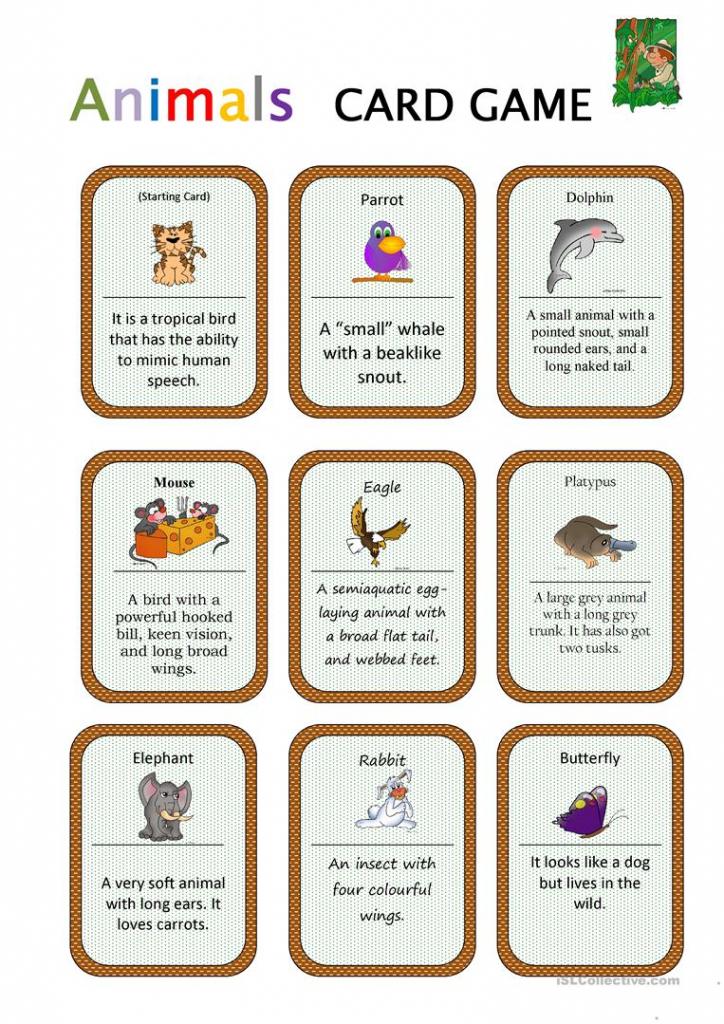 Animals Card Game Worksheet - Free Esl Printable Worksheets Made | Esl Card Games Printable