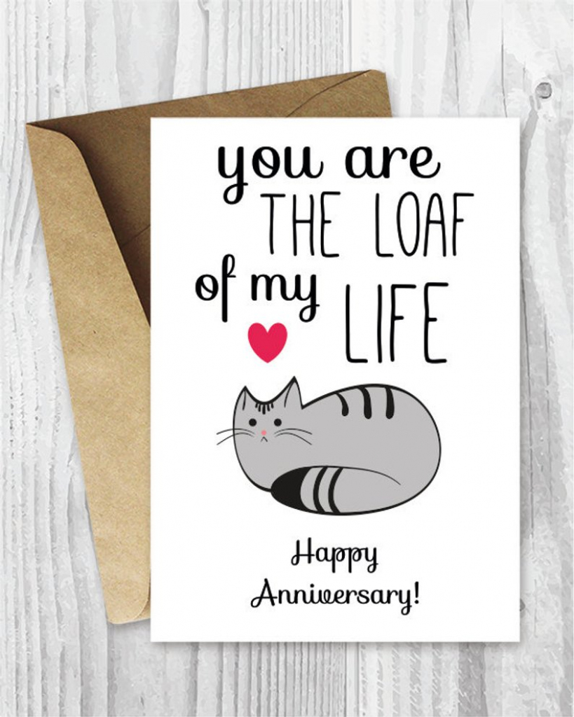 Anniversary Cards Printable Anniversary Card Cat Loaf Funny | Etsy | Funny Printable Anniversary Cards