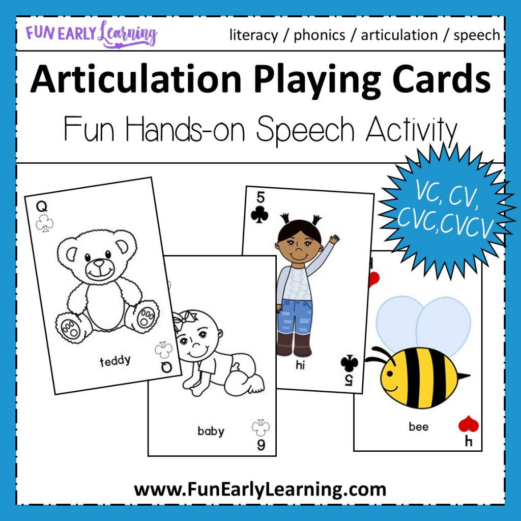 Articulation Playing Cards For Apraxia - Vc, Cv, Cvc, Cvcv Words | Cvc Picture Cards Printable
