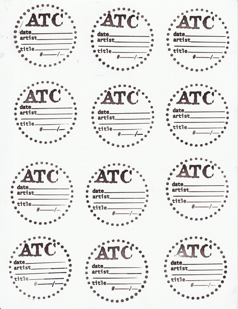 Artist Trading Coin Backs Template. Hand Made With Rubber Stamps | Printable Artist Trading Card Labels