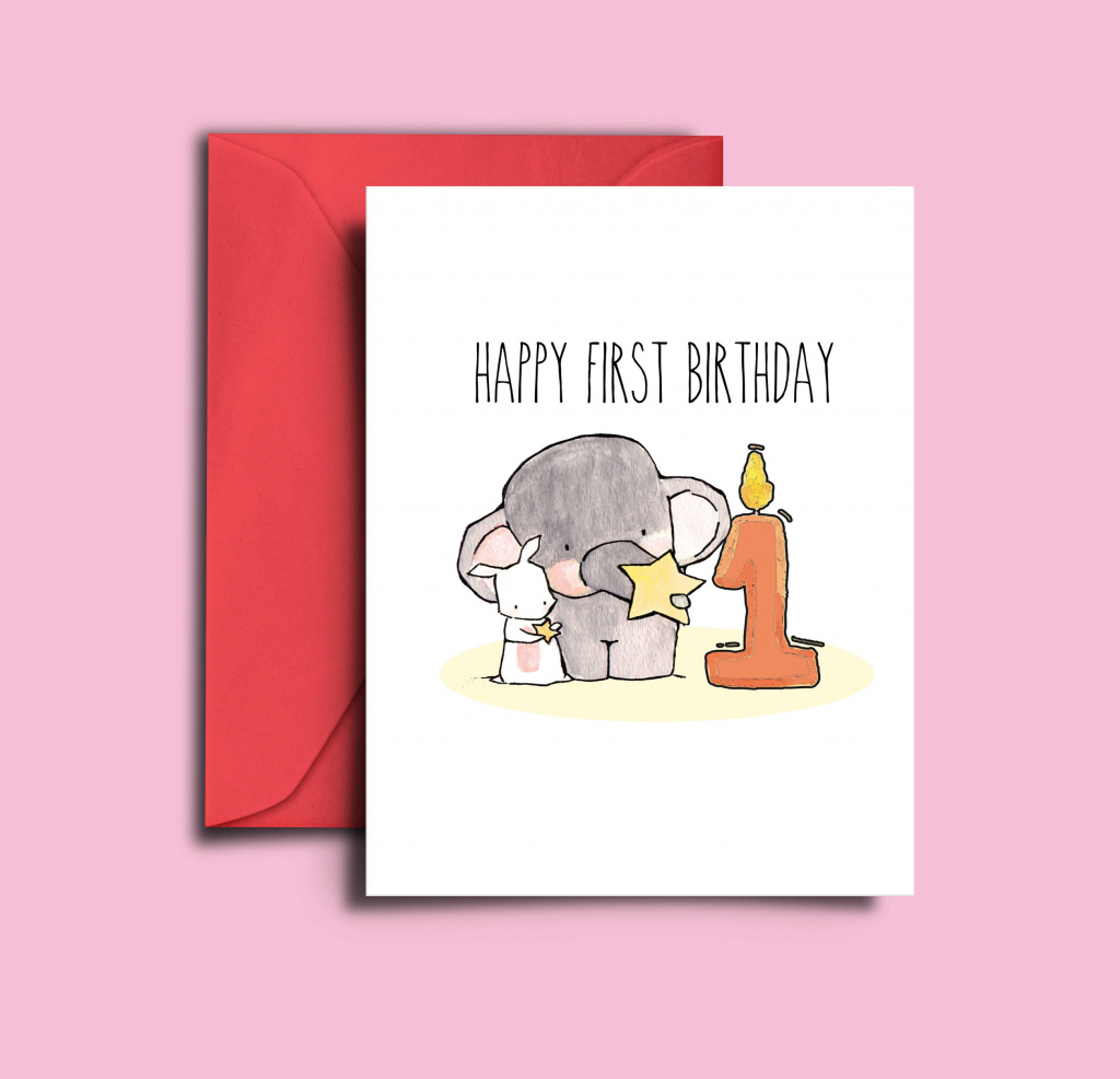 Baby First Birthday Card 1 Year Old Girl Baby 1St Birthday | Etsy | Printable 1 Year Old Birthday Card