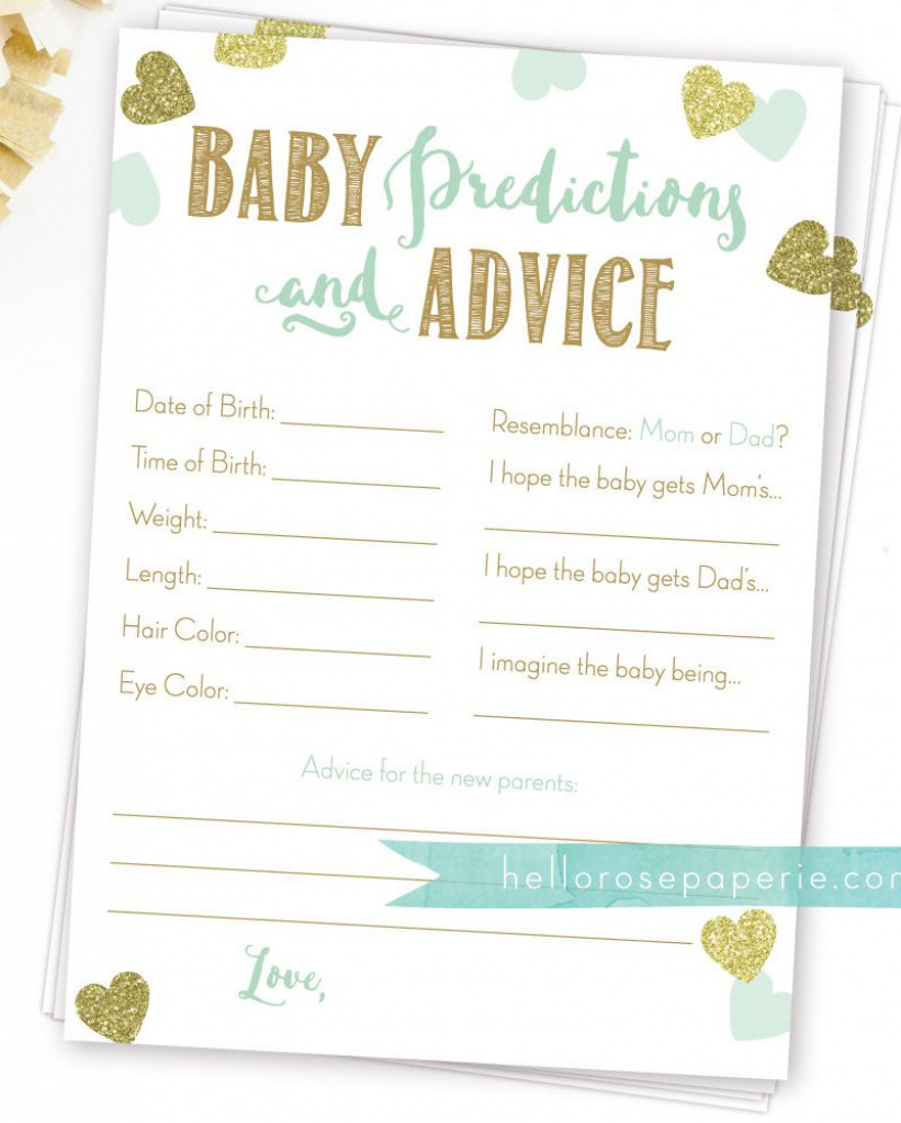 Baby Predictions And Advice . Baby Prediction Cards . Mint And Gold | Baby Shower Printable Prediction Cards