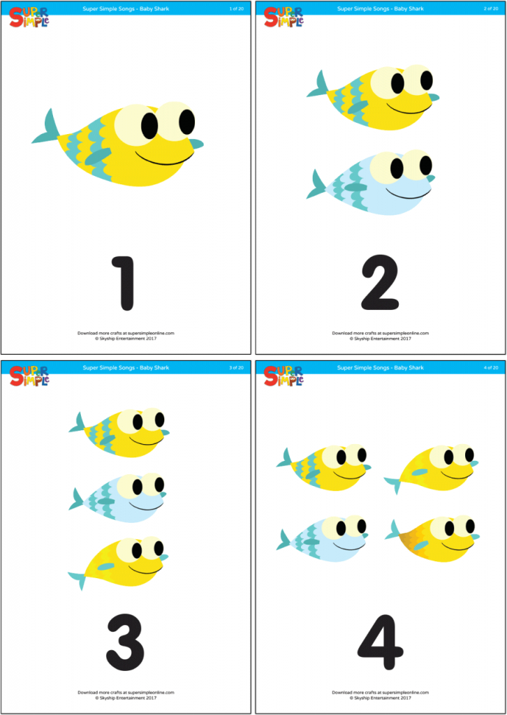 Baby Shark - Counting Flashcards - Super Simple | Printable Baby Flash Cards