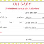 Baby Shower Baby Prediction Cards | Baby Prediction And Advice Cards Free Printable
