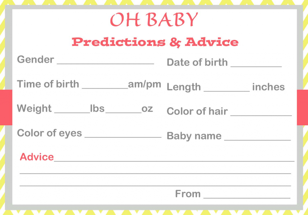 Baby Shower Baby Prediction Cards | Free Printable Baby Advice Cards