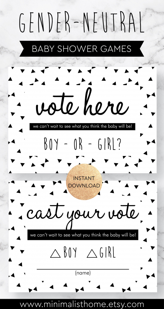 Baby Shower Decorations, Gender Reveal Voting Cards Printable, Party | Printable Gender Reveal Voting Cards