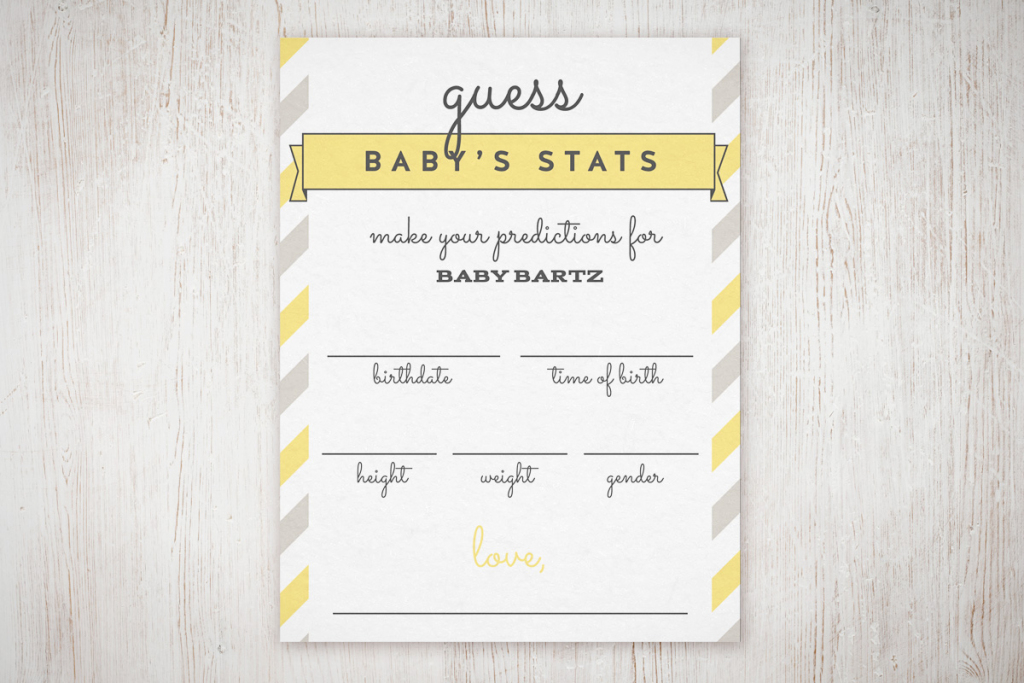 "Baby Shower ""guess The Stats"" Free Printable 