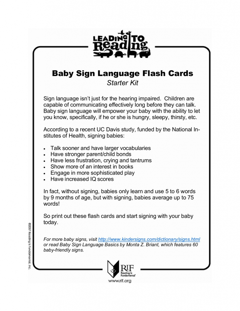 Baby Sign Language Flash Cards - Reading Is Fundamental | Printable Sign Language Flash Cards